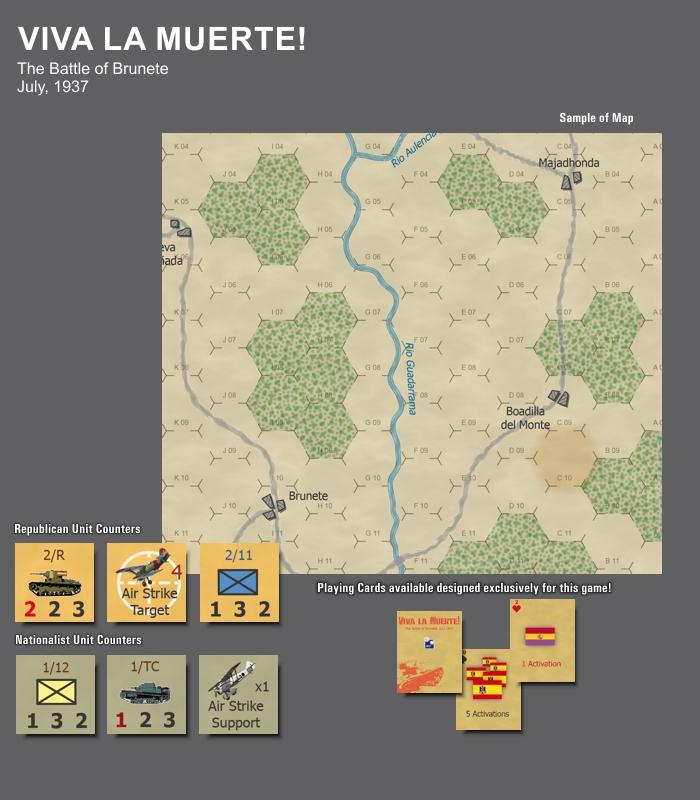 Exemple del mapa, les fitxes i les cartes exclusives.